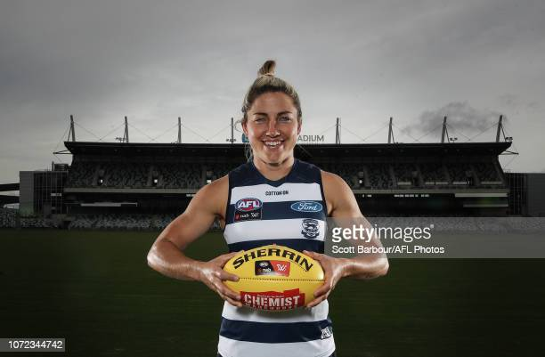 Melissa Hickey poses during the Geelong Cats AFLW Leadership Announcement at GMHBA Stadium on December 13 2018 in Geelong Australia