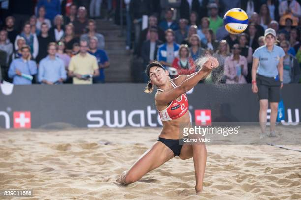 Melissa HumanaParedes of Canada receives the ball during the match against Laura Ludwig and Kira Walkenhorst of Germany during Day 3 of the Swatch...