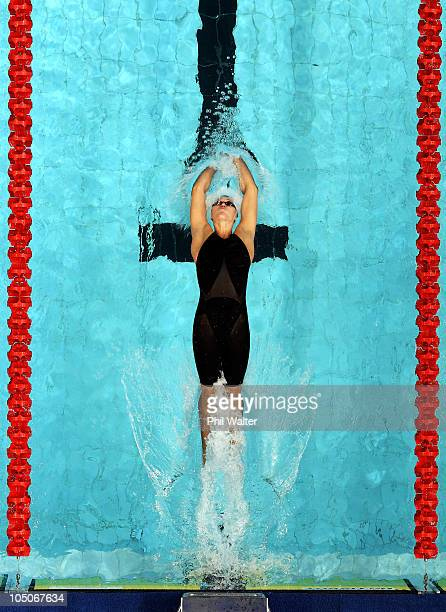 Melissa Ingram of New Zealand competes in the Women's 200m Backstroke Final at Dr SP Mukherjee Aquatics Complex during day five of the Delhi 2010...