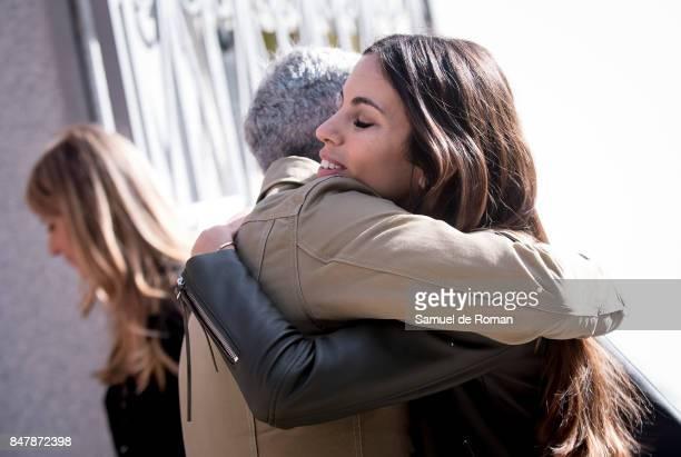 Melissa Jimenez arrives to the Funeral Tribute For Angel Nieto in Madrid on September 16 2017 in Madrid Spain