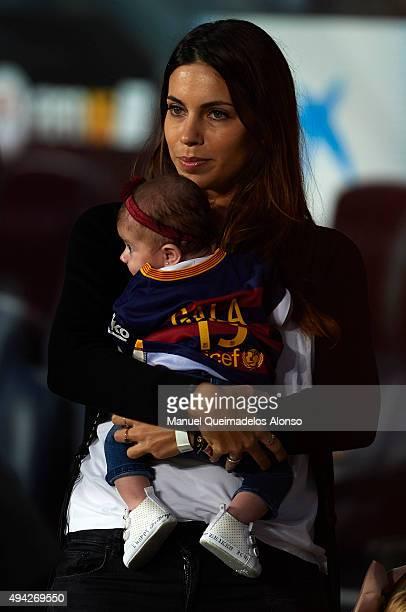 Melissa Jimenez attends the La Liga match between FC Barcelona and SD Eibar at Camp Nou Stadium on October 25 2015 in Barcelona Spain