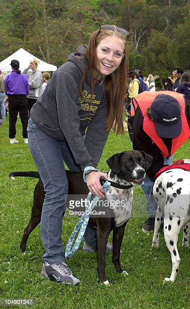 Melissa Joan Hart dog Halle during 4 Paws For A Cure Dog Walk at Temescal Canyon Park in Pacific Palisades California United States