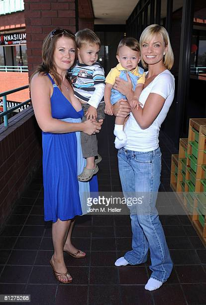 Melissa Joan Hart, Mason Walter Wilkerson, Dezi James and Jamie Presley attend the Playroom's first anniversary benefiting Friends of the Family...