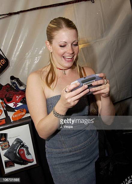 Melissa Joan Hart playing Game Boy Advance during Nickelodeon's 15th Annual Kids Choice Awards Backstage Creations Talent Retreat Day 2 at Barker...
