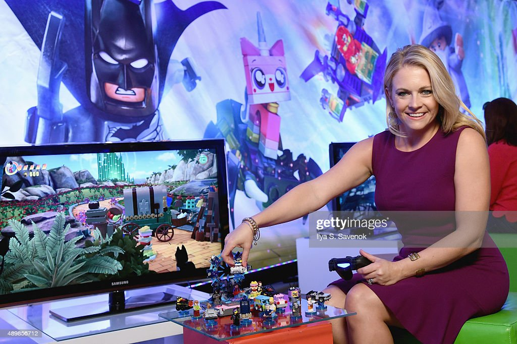 Melissa Joan Hart plays LEGO Dimensions at the video game's launch party on September 24, 2015 in New York City.