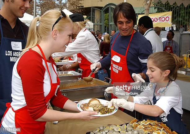 Melissa Joan Hart, Tony Danza & daughter Emily during Los Angeles Mission Thanksgiving Meal for the Homeless in Los Angeles, California, United...