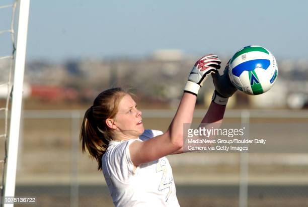 Melissa Jones, Legacy High School keeper, catches a goal shot during practice Friday at the school.