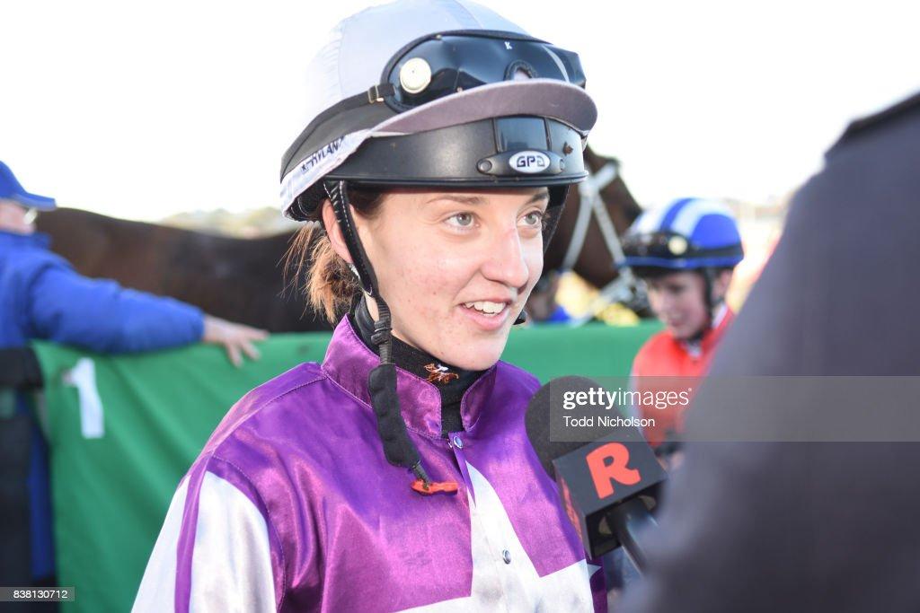 Melissa Julius after winning the Darrian Office & Art Supplies BM64 Handicap at Warrnambool Racecourse on August 24, 2017 in Warrnambool, Australia.