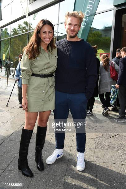 Melissa Khalaj and Frederic Heidorn during the Globetrotter store re-opening at Schlossstrasse on October 1, 2020 in Berlin, Germany.