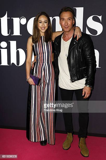 Melissa Khalaj and Jochen Bendel attend the Maybelline Hot Trendsxhibition 2017 show during the Mercedes-Benz Fashion Week Berlin A/W 2017 at...