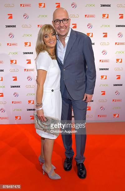 Melissa Khalaj and Jochen Brendel attend the photo call for the 2016 programme presentation of TV broadcasters ProSiebenSat1 Media at Cinemaxx...