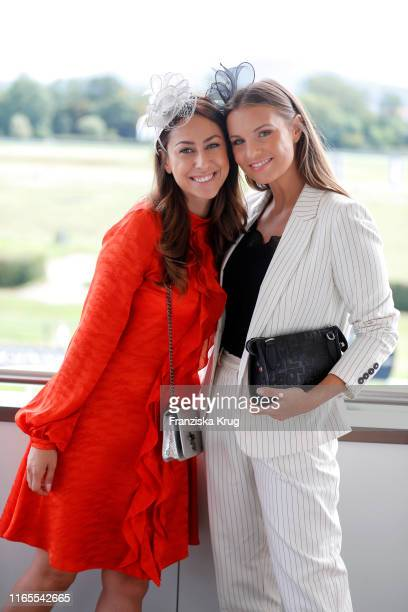 "Melissa Khalaj and Laura Wontorra during the launch of ""Le Grand Weekend"" by Longchamp & Casino Baden-Baden at Rennplatz Iffezheim on September 1,..."