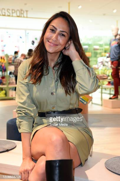 Melissa Khalaj during the Globetrotter store re-opening at Schlossstrasse on October 1, 2020 in Berlin, Germany.