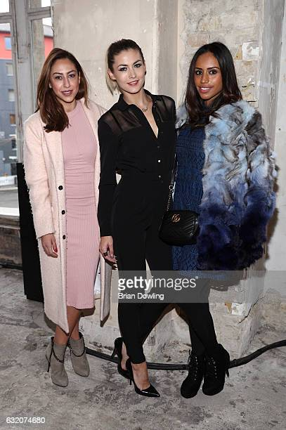 Melissa Khalaj Fiona Erdmann and Lisa Griess attend the Ewa Herzog show during the MercedesBenz Fashion Week Berlin A/W 2017 at Kaufhaus Jandorf on...
