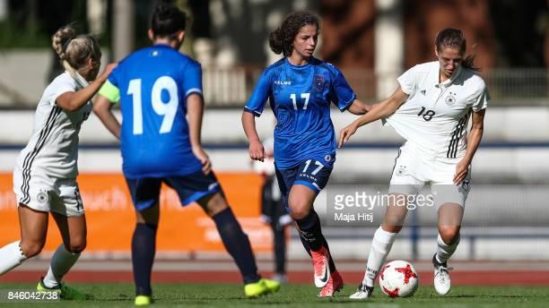 Melissa Koessler of Germany and Aurora Berisha of Kosovo battle for the ball during U19 Women's Germany and U19 Women's Kosovo UEFA Under19 Women's...