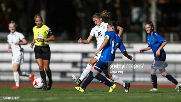 Melissa Koessler of Germany and Marigone Tahiri of Kosovo battle for the ball during U19 Women's Germany and U19 Women's Kosovo UEFA Under19 Women's...