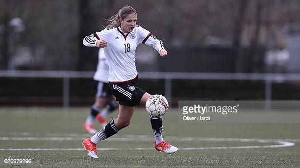 Melissa Koessler of Germany in action during the international friendly match between U17 Girl's Denmark and U17 Girl's Germany at Ikast Stadium on...