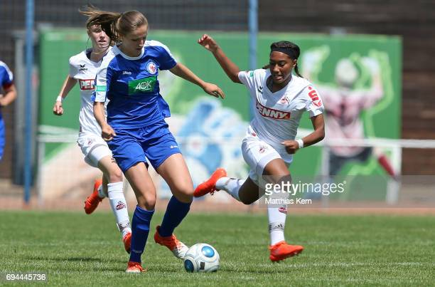 Melissa Koessler of Potsdam battles for the ball with Alicia Sophie Gudorf of Koeln during the B Junior Girl's German Championship semi final match...