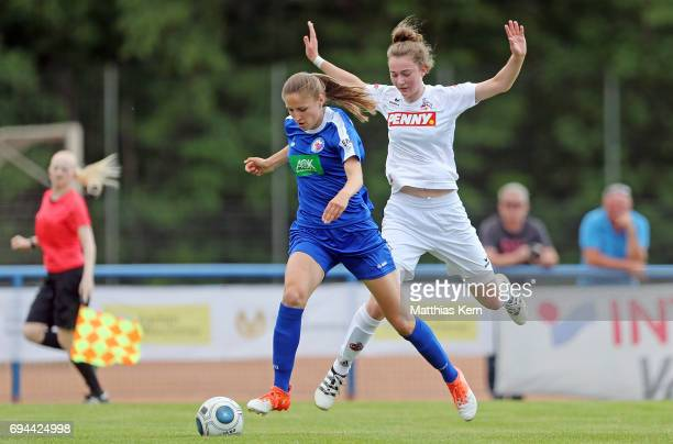 Melissa Koessler of Potsdam battles for the ball with Anne Hahn of Koeln during the B Junior Girl's German Championship semi final match between 1FFC...