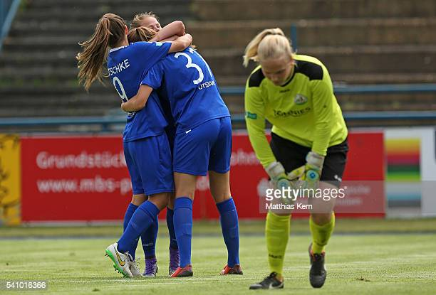 Melissa Koessler of Potsdam jubilates with team mates after scoring the second goal during the U17 Girl's German Championship final match between...