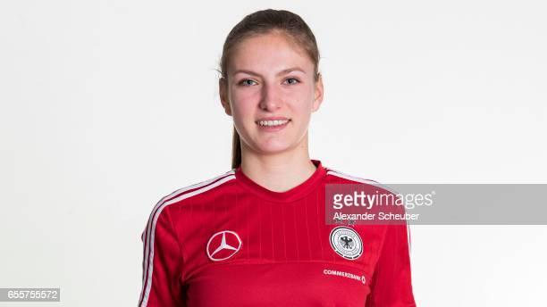 Melissa Koessler poses during germany U17 girl's team presentation on March 20 2017 in Grunberg Germany