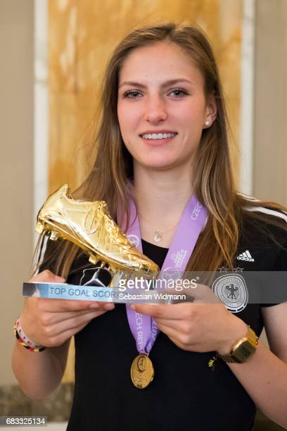 Melissa Koessler poses with her Top Goal Scorer Trophy during the reception at Le Meridien Grand Hotel on May 15 2017 in Nuremberg Germany