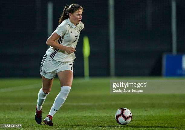 Melissa Kossler of Germany controls the ball during the 14 Nations Tournament match between U19 Women's Germany and U19 Women's Denmark on March 03,...
