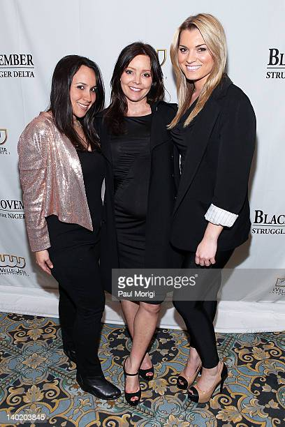 Melissa Kubrin Jennifer Brougham and Lindsay Hubbard attend the 'Black November' film screening at The Library of Congress on February 29 2012 in...