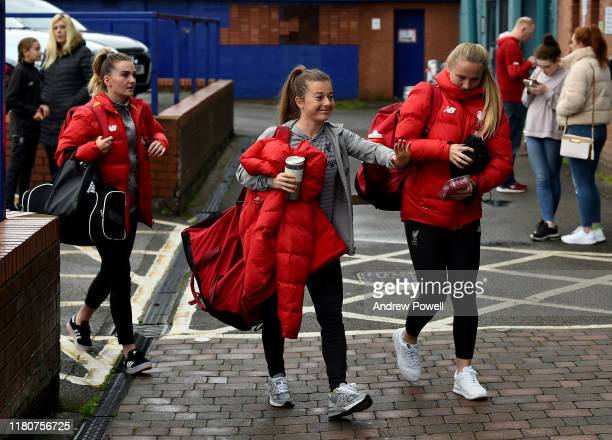 Melissa Lawley Christie Murray and Jemma Purfield of Liverpool Women arriving before the WSL match between at Prenton Park on October 13 2019 in...