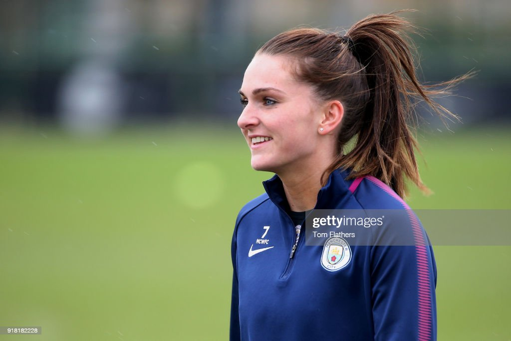 Melissa Lawley during training at Manchester City Football Academy on February 14, 2018 in Manchester, England.