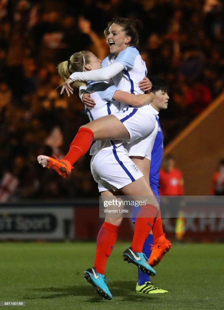 Melissa Lawley of England celebrates scoring the first goal with Keira Walsh of England during the FIFA Women's World Cup Qualifier between England and Kazakhstan at Weston Homes Community Stadium on November 28, 2017 in Colchester, England.