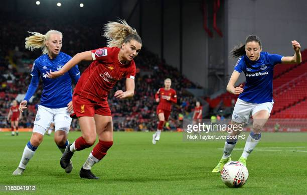 Melissa Lawley of Liverpool FC Women and Danielle Turner of Everton Women in action during the Barclays FA Women's Super League match between...