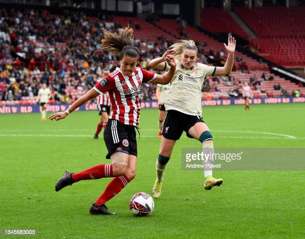 Melissa Lawley of Liverpool Women competing with Georgia Robert of Sheffield United Women during the Barclays FA Women's Championship match between...