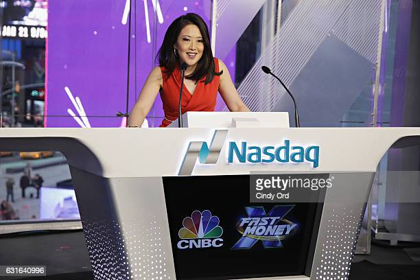 Melissa Lee of CNBC's 'Fast Money' rings the NASDAQ Closing Bell at NASDAQ MarketSite on January 13 2017 in New York City