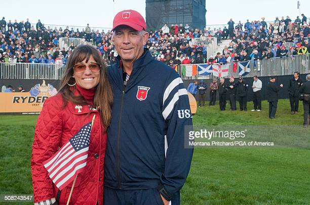 Melissa Lehman and Tom Lehman during the session four singles matches at the 38th Ryder Cup at the Twenty Ten Course at Celtic Manor in Newport Wales...
