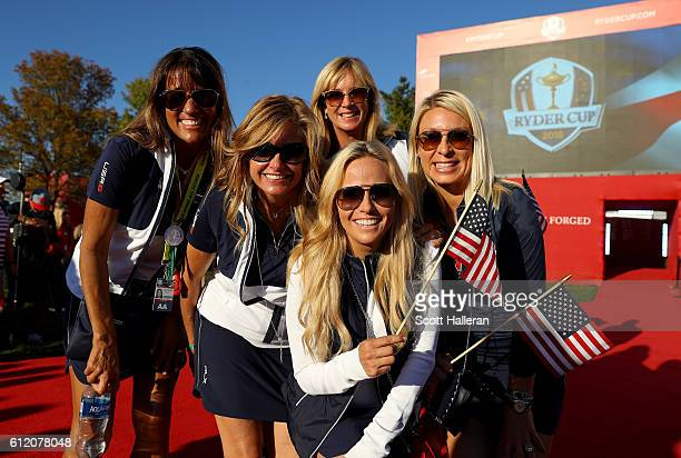 Melissa Lehman Tabitha Furyk Robin Love Amy Mickelson and Mandy Snedeker look on during the closing ceremony of the 2016 Ryder Cup at Hazeltine...