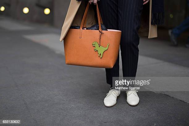 Melissa LieblingGoldberg is seen attending New York Mens Day at Dune Studios wearing Carven coat Mansur Gavriel bag and a Sesame jumpsuit on January...