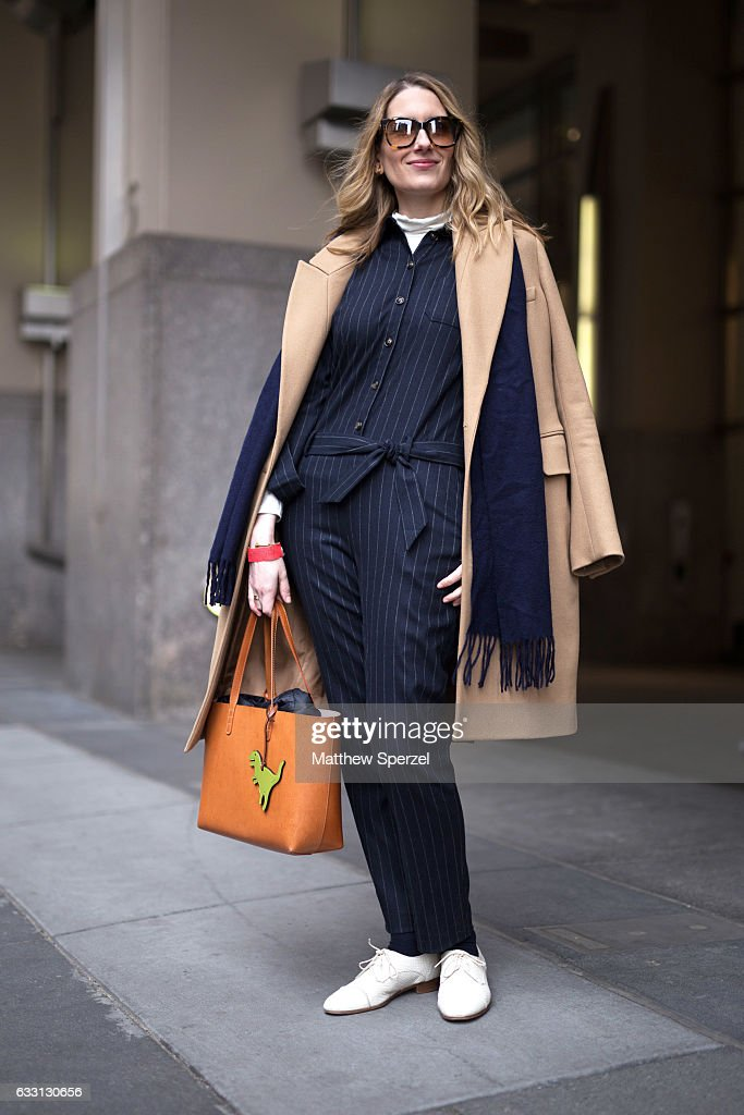 Melissa Liebling-Goldberg is seen attending New York Mens Day at Dune Studios wearing Carven coat, Mansur Gavriel bag, and a Sesame jumpsuit on January 30, 2017 in New York City.