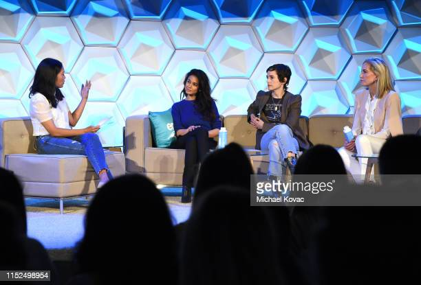 Melissa Magsaysay Emmanuelle Chriqui Kristina Buckley and Karla Welch speak onstage at the EMA IMPACT Summit Day One at Montage Beverly Hills on May...