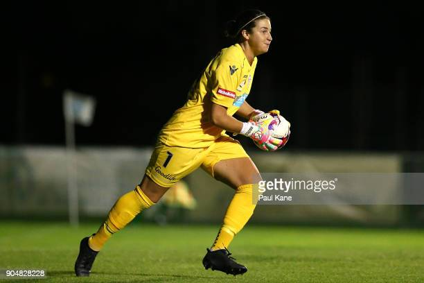 Melissa Maizels of the Perth Glory looks to move the ball on during the round 11 WLeague match between the Perth Glory and Sydney FC at Dorrien...