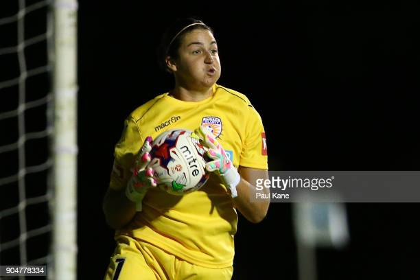Melissa Maizels of the Perth Glory saves a shot on goal during the round 11 WLeague match between the Perth Glory and Sydney FC at Dorrien Gardens on...