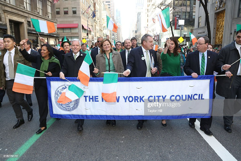 Melissa Mark-Viverito and members of the New York City Council march up 5th Avenue in the 2016 St. Patrick's Day Parade on March 17, 2016 in New York City.