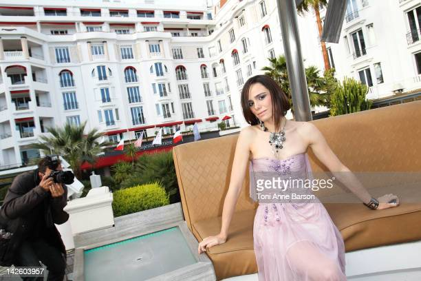 Melissa Mars poses before the Christophe Guillarme New Collection presentation at the Palais des Festivals on April 7 2012 in Cannes France