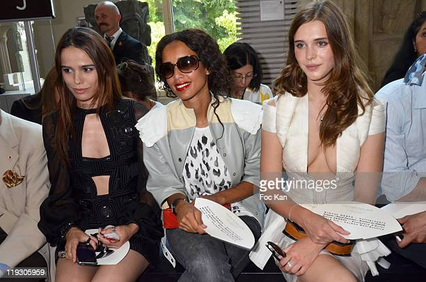 Melissa Mars Sonia Rolland and Gaia Weiss attend the Stephane Rolland Front Row Paris Fashion Week Haute Couture F/W 2011/2012 at Cite de...