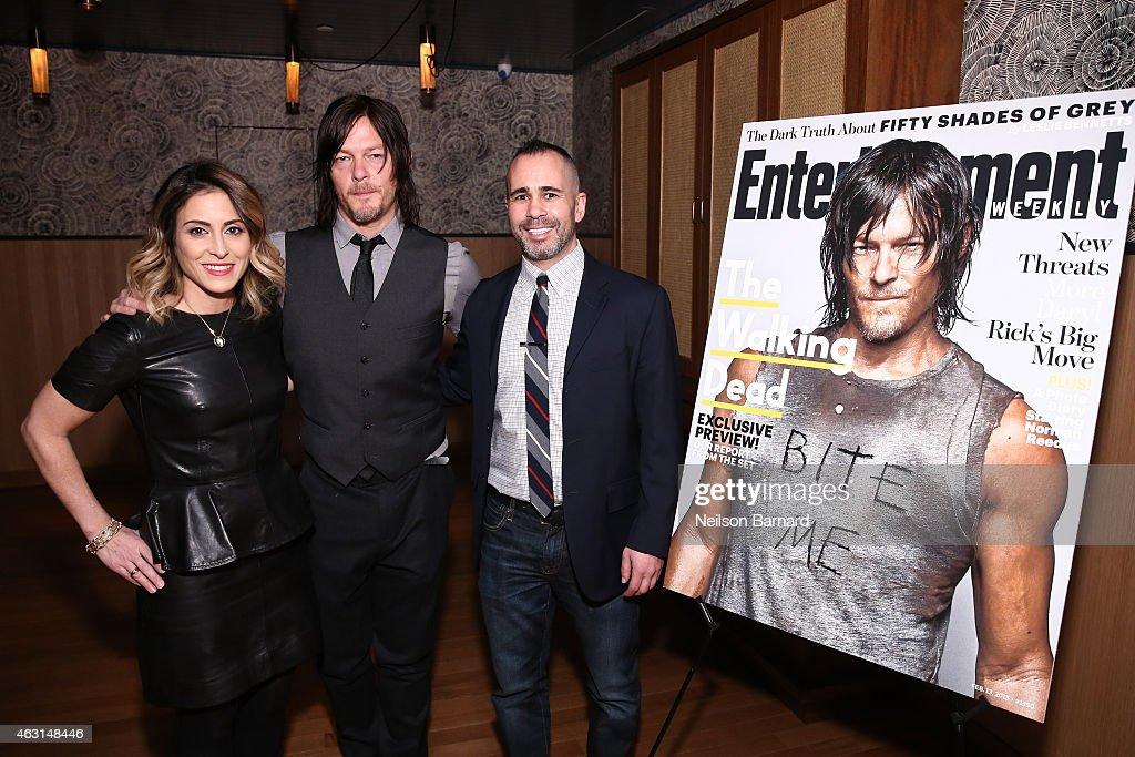 Melissa Mattiace, Publisher Entertainment Weekly, Norman Reedus and Henry Goldblatt, Editor Entertainment Weekly attend an intimate dinner hosted by Entertainment Weekly to celebrate the magazines 'The Walking Dead' cover story on February 10, 2015 in New York City.