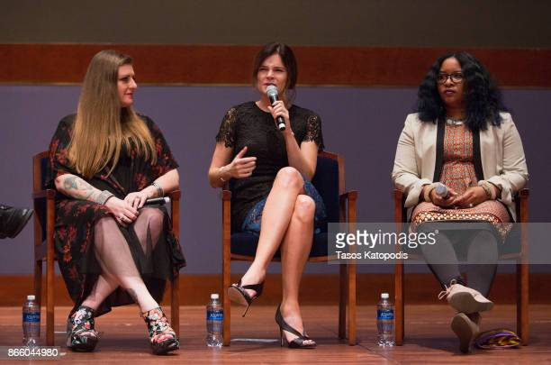 Melissa Mays Betsy Brandt and Nayyirah Shariff attend the Lifetime Panel Discussion with Congressman Dan Kildee Flint cast executive producer and...