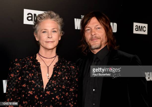 Melissa McBride and Norman Reedus attend the premiere of AMC's 'The Walking Dead' season 9 at DGA Theater on September 27 2018 in Los Angeles...