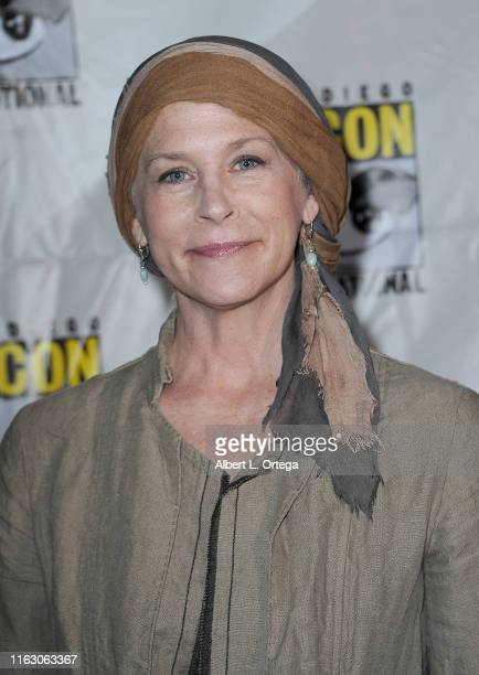 Melissa McBride attends The Walking Dead Panel during 2019 ComicCon International at San Diego Convention Center on July 19 2019 in San Diego...