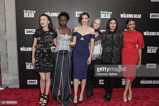 Melissa McBride Lauren Cohan Danai Gurira Sonequa MartinGreen Alanna Masterson and Christian Serratos arrive at AMC presents live 90minute special...