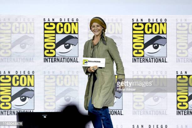 Melissa McBride speaks at The Walking Dead Panel during 2019 ComicCon International at San Diego Convention Center on July 19 2019 in San Diego...